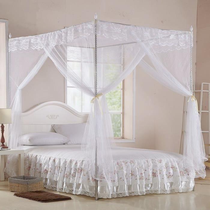 ZJCHAO rideau de lit Luxe princesse trois ouvertures latérales post lit rideau à baldaquin filet moustiquaire literie (S)