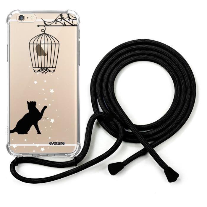 coque avec cordon noir iPhone 6/6S avec cordon Chat Ecriture Tendance et Design Evetane