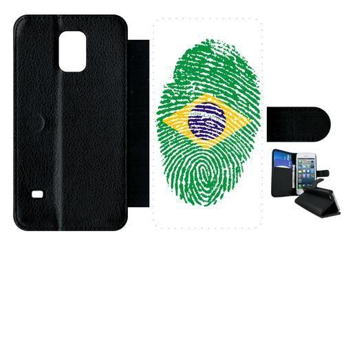 Etui a rabat - Plastique - Noir Samsung Galaxy S5 60 EMPREINTE DIGITALE DRAPEAU BRESIL BRAZIL