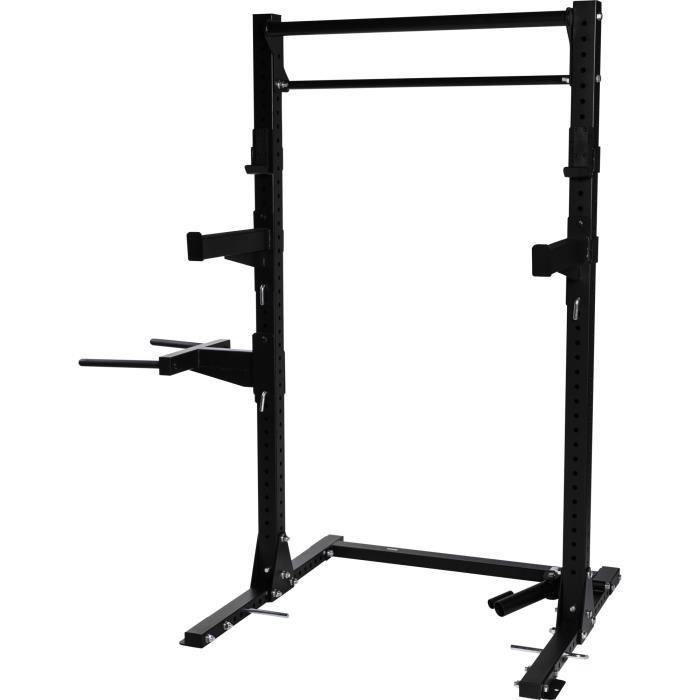 Gorilla Sports - Rack à Squat Multifonctions Tractions, Dips et Rowing Noir