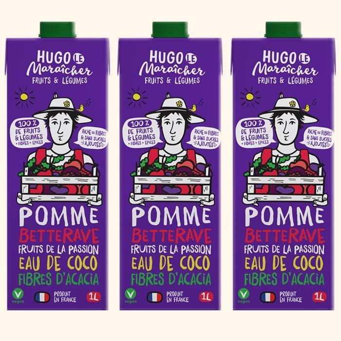 Hugo Le Maraîcher - Jus de fruits et Légumes Pomme Betterave 1L - Pack de 3
