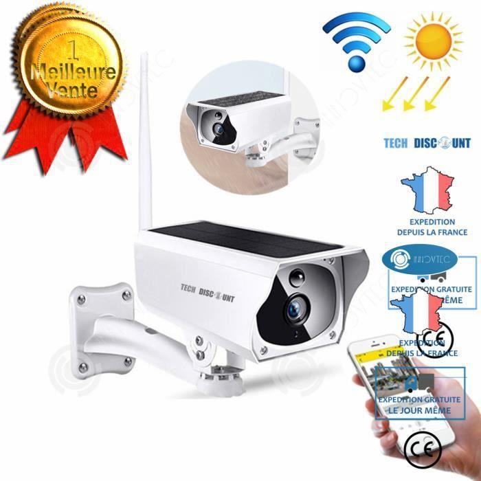 INN® caméra surveillance extérieur wifi sans fil solaire connectée panneau solaire télécommande étanche HD carte TF infrarouge à dis