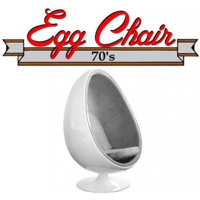 Fauteuil pivotant Oeuf, Egg chair coque blanche / intérieur tissu gris. Design 70's. gris Velours Inside75
