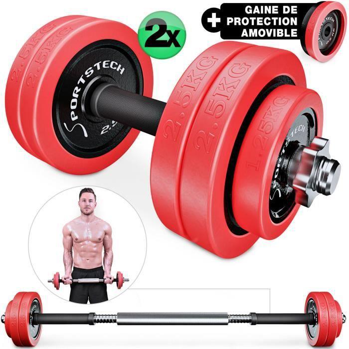 Sportstech 2 en 1 avec couvercle en silicone - Ensemble d'haltères courte/longue, musculation réglable en fonte de 20 kg