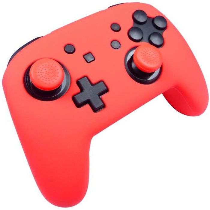 Protection en silicone rouge néon + caps Subsonic pour manette Nintendo Switch Pro Controller
