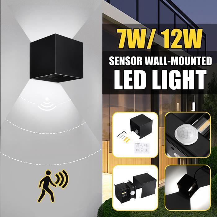 12W LED COB Applique Murale Lampe Detecteur de Movement PIR IP65 Moderne - Lumière Blanche - Exterieur/Interieur