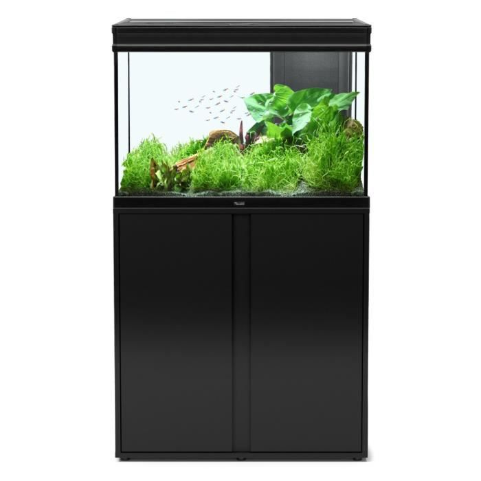 ensemble aquarium expert led 180 litres 80x40 cm noir. Black Bedroom Furniture Sets. Home Design Ideas