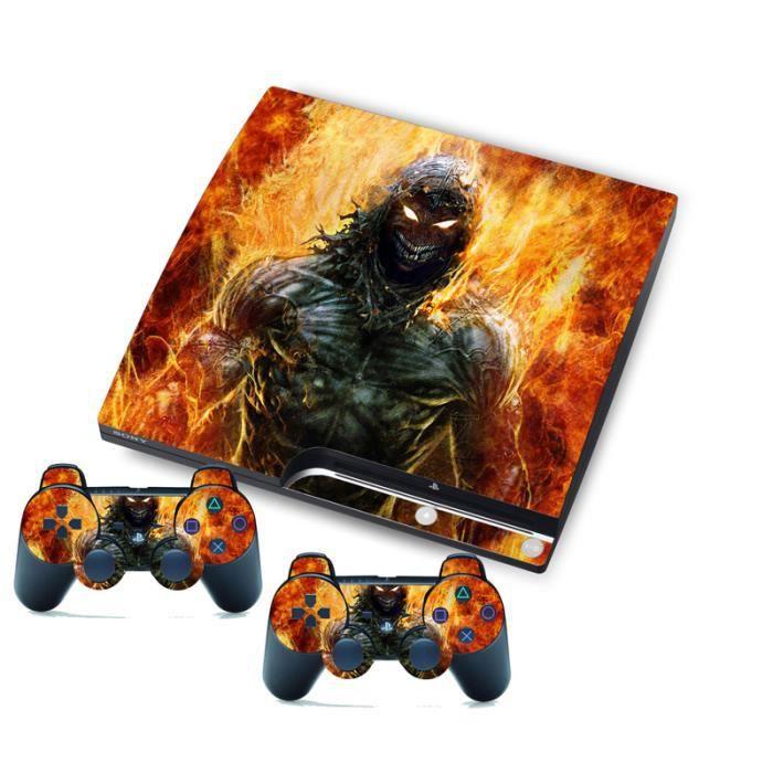 Fire Film Autocollant Peau Pour Ps3 Slim Playstation 3 Slim Console Et Contrôleur Prix Pas Cher Cdiscount