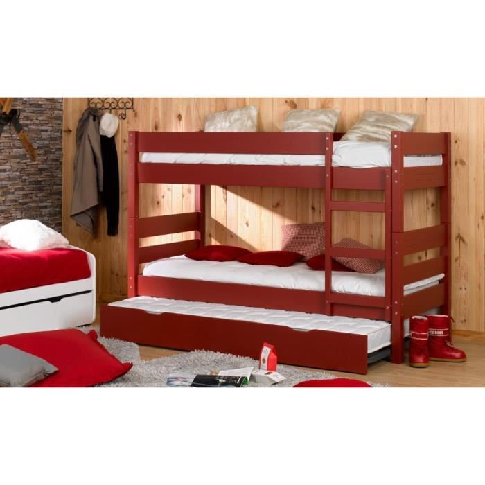 lit superpos adulte 90x200 crin rouge dimensi achat. Black Bedroom Furniture Sets. Home Design Ideas