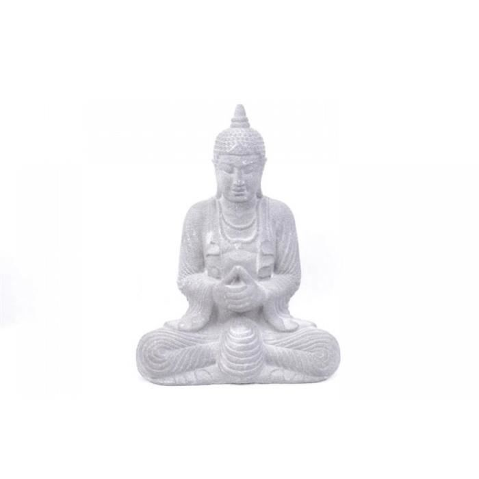 statue de bouddha en pierre de java grise h28cm achat vente statue statuette cdiscount. Black Bedroom Furniture Sets. Home Design Ideas
