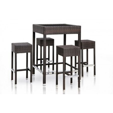 Table de bar en r sine tress e cuba achat vente desserte de jardin table - Tabouret de bar resine tressee ...