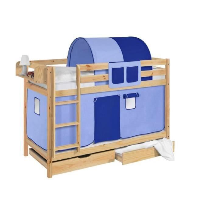 lits superpos s jelle bleu avec rideaux et deux sommier lattes lilokids naturee laqu. Black Bedroom Furniture Sets. Home Design Ideas