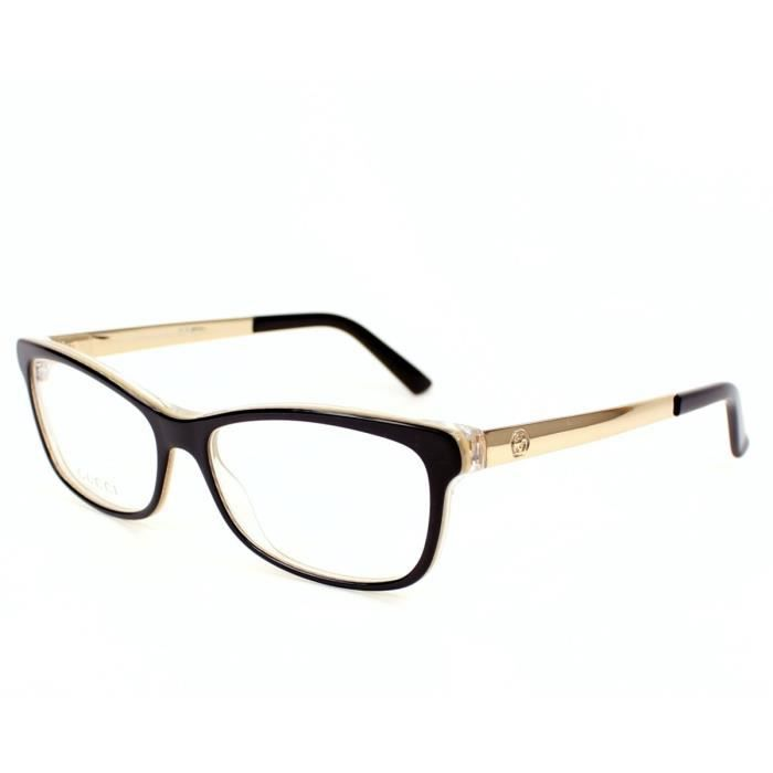 c37d59e28d2bb4 Lunettes de vue Gucci GG 3678 -4WH Noir - Or Noir, Or - Achat ...