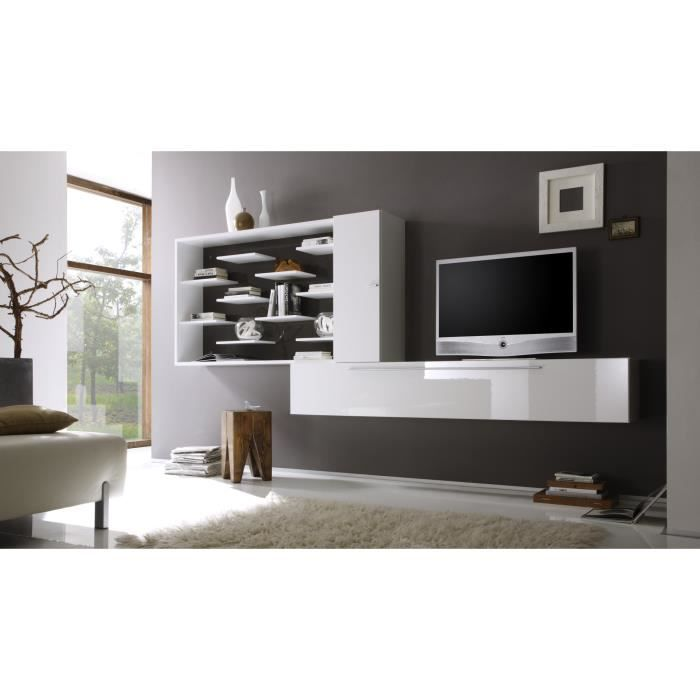 Composition tv murale design laqu e blanche anthracite gibraltar achat ve - Composition meuble tv design ...