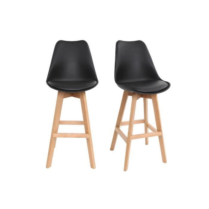 lot de deux tabourets de bar design noir et bois pauline achat vente tabouret cdiscount. Black Bedroom Furniture Sets. Home Design Ideas