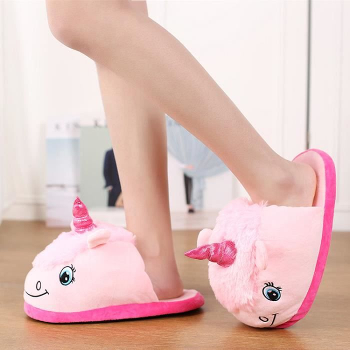 Femme Homme Pantoufles Peluche Chaussure Licorne Chaussons Suople Maison YdZyw6RtC
