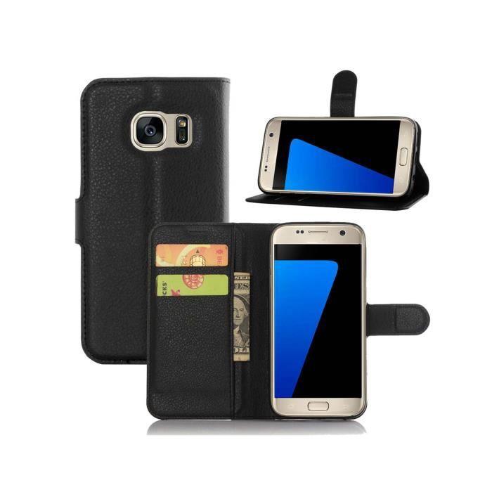Bravoday Coque Galaxy S7 Housse en Cuir pour Galaxy S7 /à Rabat Rouge 3 emplacements Porte-Cartes et Monnaie avec Fermeture magn/étique