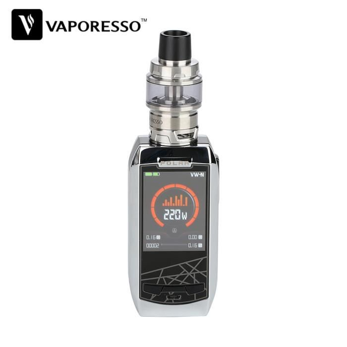 Cigarette électronique Vaporesso Polar CT Kit d'origine 220W 6.5ml Cascade Baby SE Atomiseur vape Polar Kit Pas de batterie-argent
