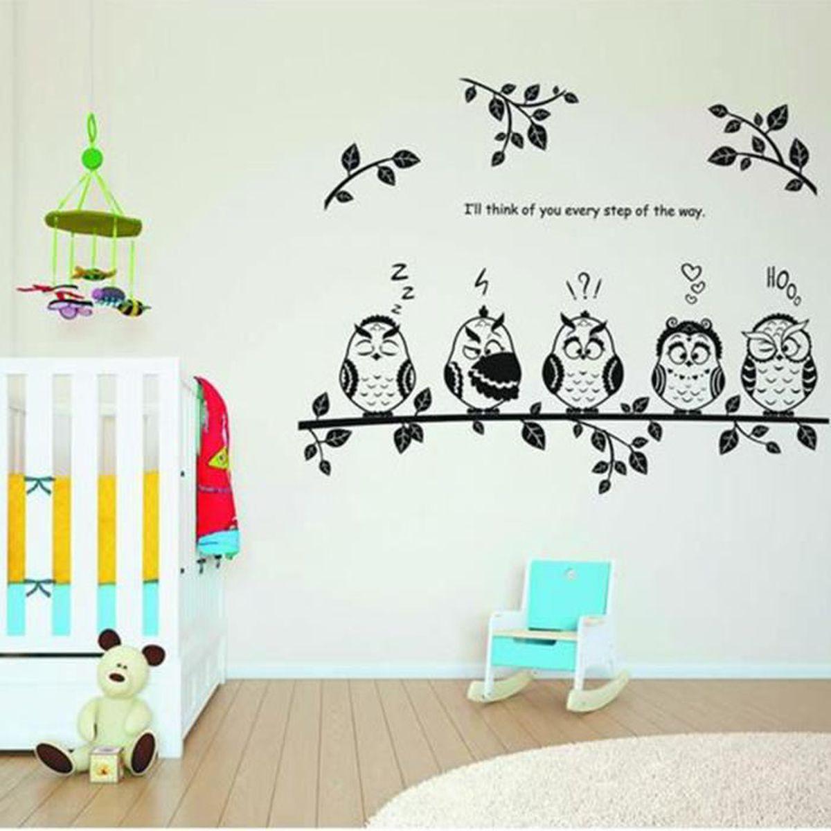 Stickers Muraux Chambre Bébé hibou noir branche sticker mural autocollant décoration