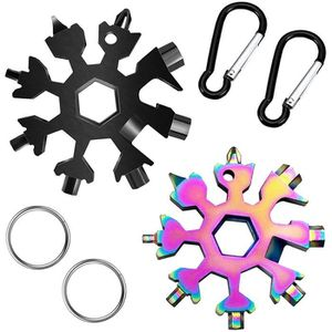 argent/é + noir Cl/é /à anneau Tournevis hexagonaux D/écapsuleur Lot de 2 20 en 1 en forme de flocon outils multifonctions de neige en acier inoxydable