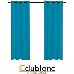 RIDEAU DUBLANC Paire de rideaux occultants 140x260cm TURQ