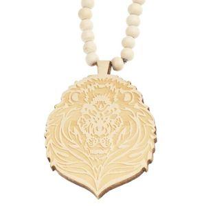 CHAINE DE COU SEULE Bois Style Perle Chaîne - Lion beige