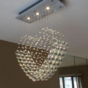 LUSTRE ET SUSPENSION  moderne coeur transparent verre de cristal goutte