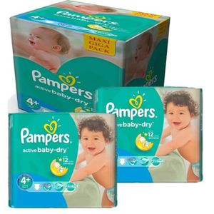 COUCHE 280 Couches Pampers Active Baby Dry taille 4+