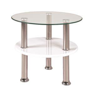 TABLE D'APPOINT Table d'appoint optique inox-blanc en verre tre...
