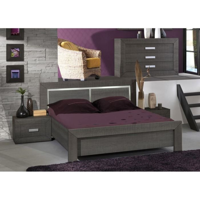 avignon chambre compl te adulte 160cm achat vente. Black Bedroom Furniture Sets. Home Design Ideas