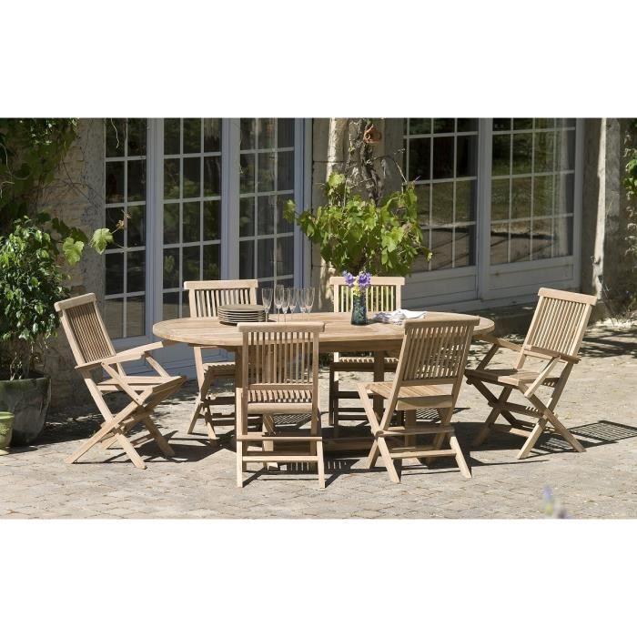 Table en bois teck massif ovale extensible de jardin 150 - 200 x 90 cm JARDITECK