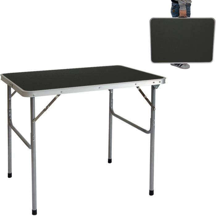 Table de camping 80x60x70cm format mallette Gris Foncé