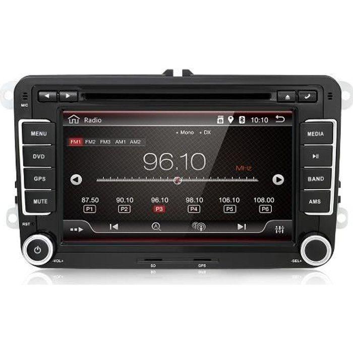 7 pouces 2 din Autoradio Android 7.1 lecteur DVD Navigation GPS pour VW - Volkswagen - Passat - POLO - GOLF - Skoda+Caméra de Recul