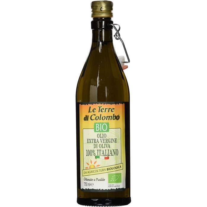 Le Terre di Colombo – Bouteille d'huile d'olive extra-vierge bio 100 % italienne avec bouchon mécanique, 0,75 l, Bouteille nervurée