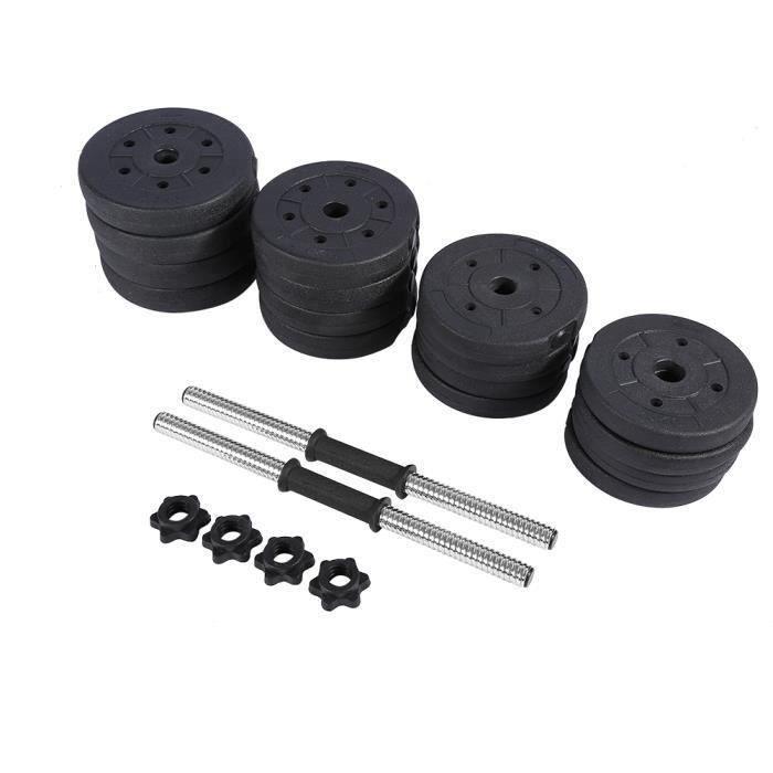 BESPORTBLE - Haltère 30kg poids ajustables - (4 x 2.5 kg / 2 kg / 1.5kg / 1.25kg) - Noir
