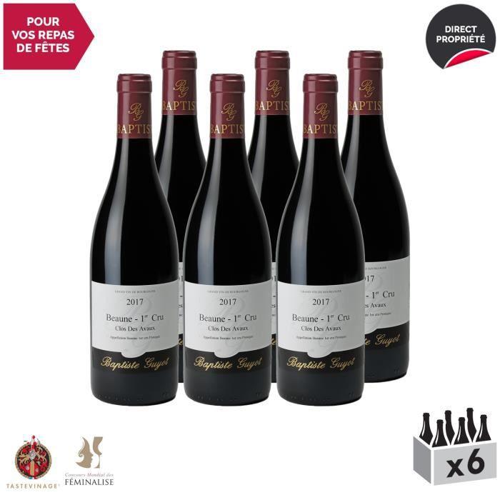 Beaune 1er Cru Clos des Avaux Rouge 2017 - Lot de 6x75cl - Domaine Baptiste Guyot - Vin AOC Rouge de Bourgogne - Tasteviné - Cépage