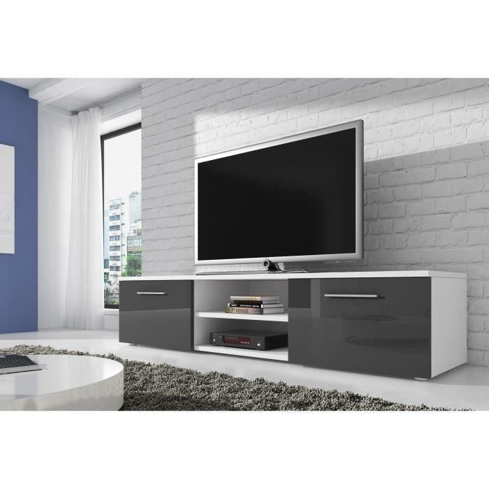 VEGAS Meuble TV contemporain décor Blanc et Gris - 150 cm