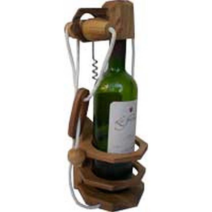 Casse tête en bois la bouteille tire bouchon original