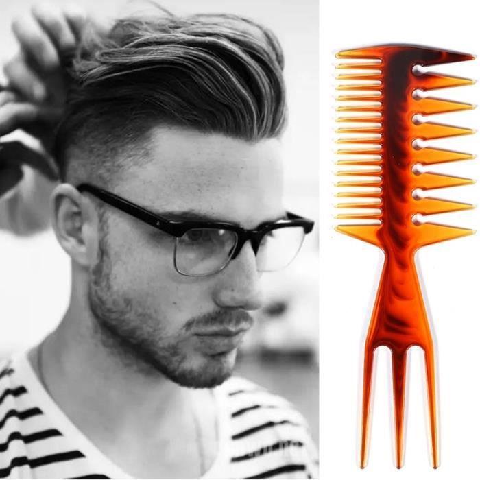Peigne à cheveux pour hommes et femmes Peigne à harpon Peigne à dents larges Peigne plat Multi-usages