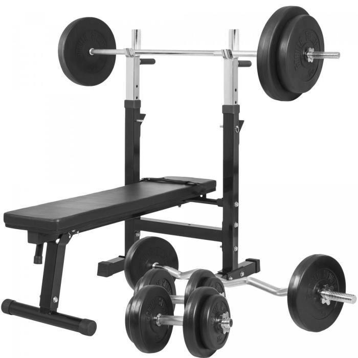 Gorilla Sports - Banc de musculation GS006 + Set haltères disques en plastique et Barres 97,5KG
