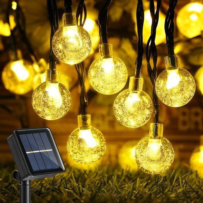 Guirlande Lumineuse Solaire, 13.8M IP65 Guirlande Lumineuse Exterieur avec 8 Modes et 60 Boules Cristal LED pour Jardin, Patio[324]