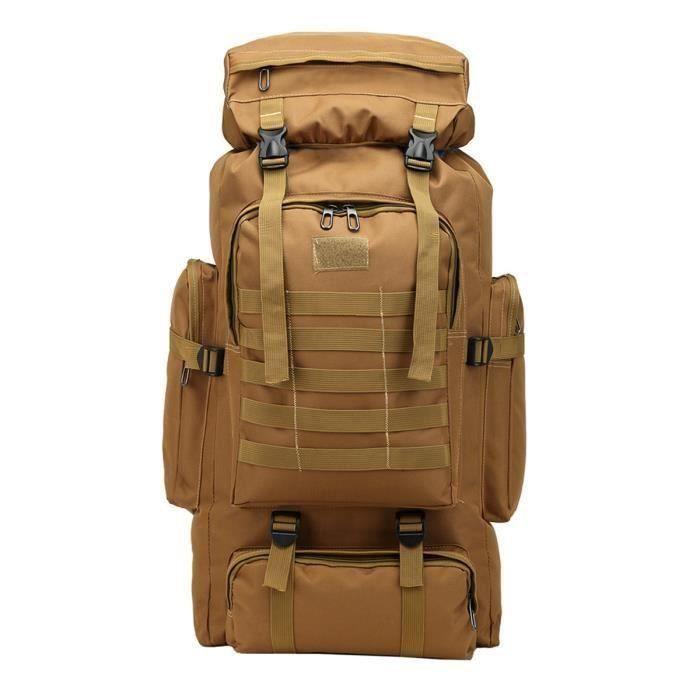 80L Grande Sac À Dos Tactique Militaire Randonnée Camping Backpack Nylon Voyage Camouflage Jaune terre Me47977