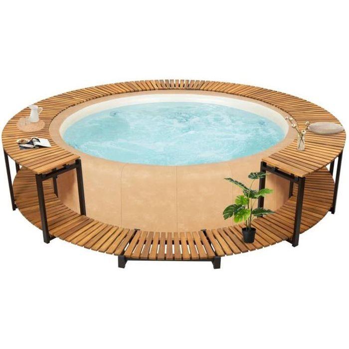 Ergonomique Cadre de spa Contour de Spa Jardin Extérieur Haute qualité - SPA COMPLET - KIT SPA 273x53 cm Bois d'acacia massif ®MOCH