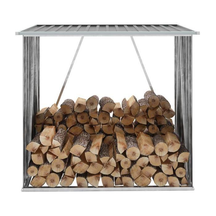 Abri de stockage de bois Abri de jardin range-bûches 163x83x154 cm Gris pour -PAI