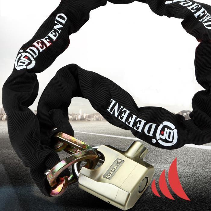 Antivol-Bloque Roue Chaîne cadenas Chaîne Antivol moto 0.8m + Alarme Cadenas -Résistance à la pression 16t