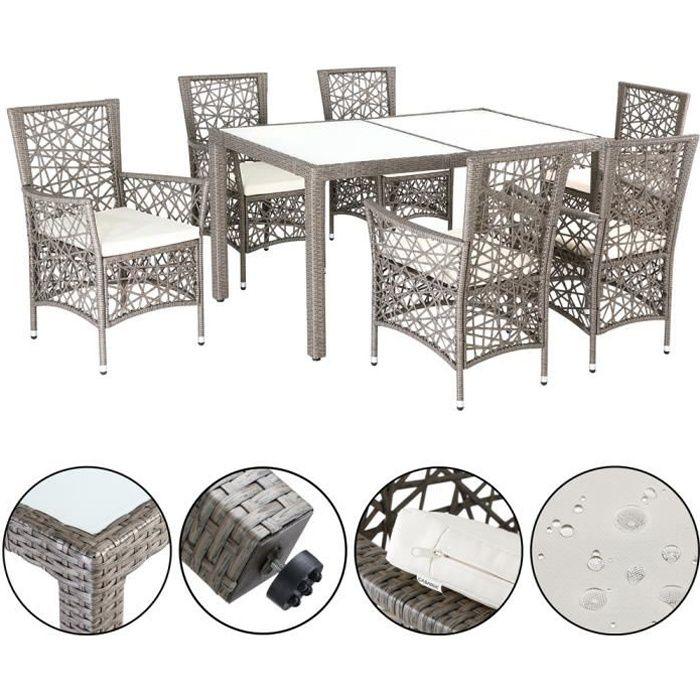 Salon de jardin polyrotin 1 table 6 chaises avec 6 coussins épaisseur 5cm ensemble de jardin meuble table 150x90cm beige-gris