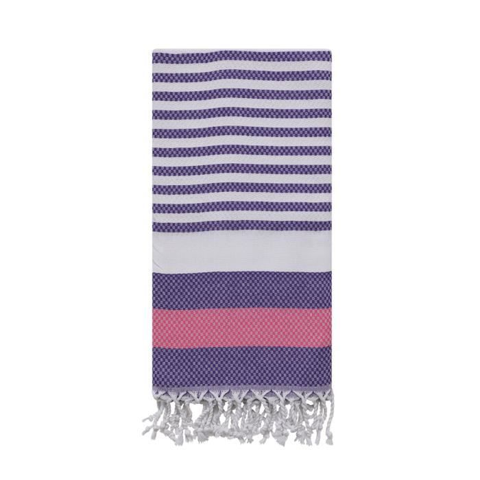 COTTON ROYAL fouta nid d'abeille violet MARINA