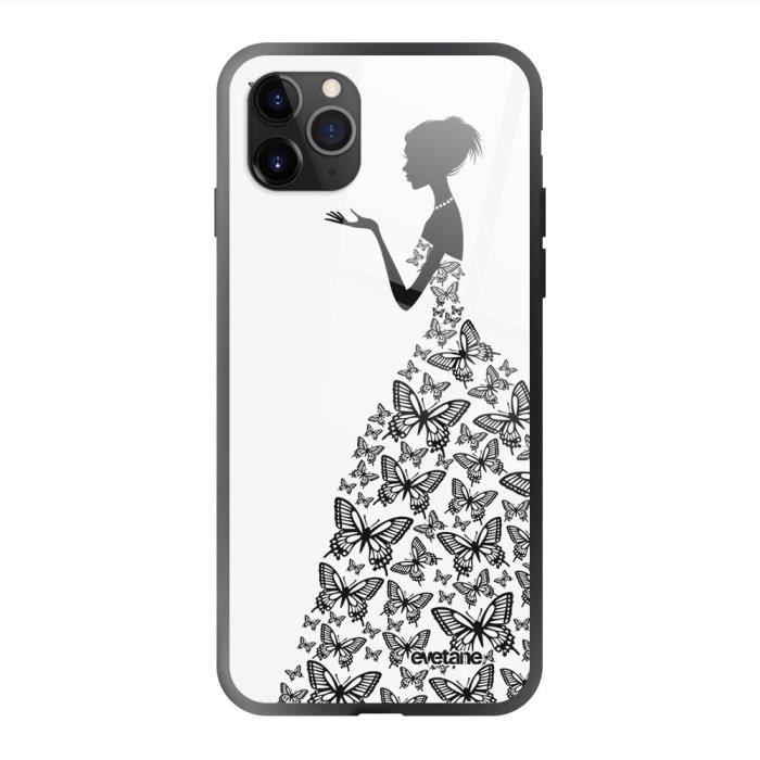 Coque en verre trempé iPhone 11 Pro Silhouette Papillons Ecriture Tendance et Design Evetane