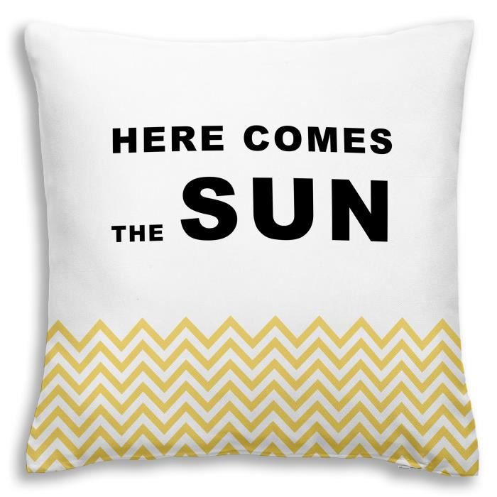 TODAY Coussin déhoussable 100% coton California Dream Here Comes The Sun 40x40 cm jaune et blanc