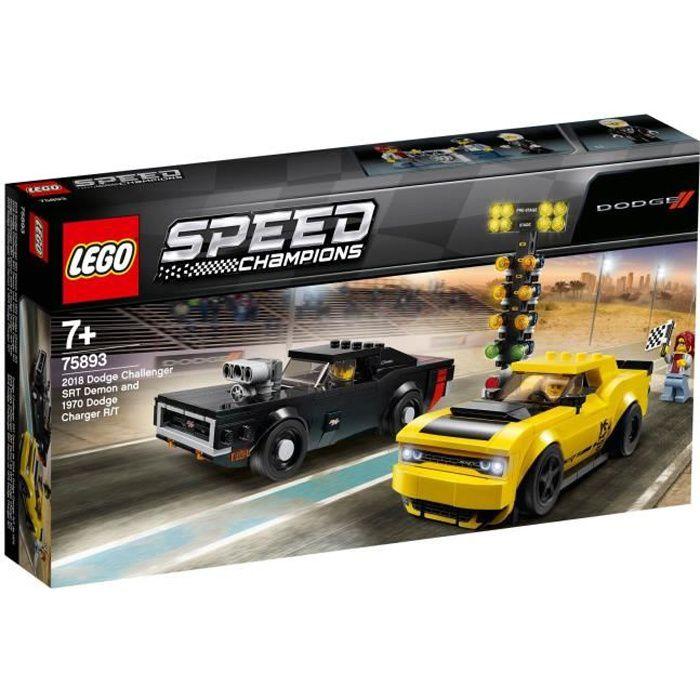 LEGO® Speed Champions 75893 - Dodge Challenger Srt demon 2018 et Dodge Charger R/T 1970 - Jeu de construction